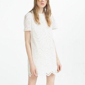 Zara white eyelet lace shift dress